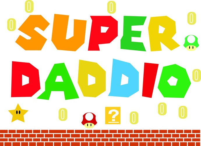 Super Daddio, Father's Day, Holiday, Mario Brothers, Dad SVG