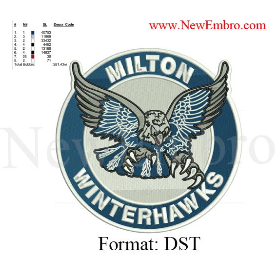 Custom Embroidery Design Winterhawks Milton By Newembro On Zibbet