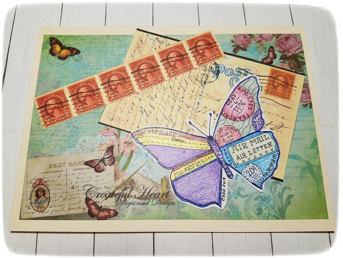 Vintage Butterfly Air Mail  - digital image, stamp