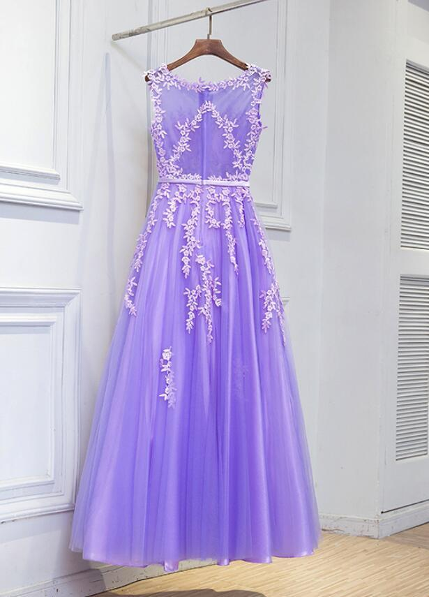 Lavender Tulle Evening Dress, Beautiful Party Dress 2018, Prom Dress 2018
