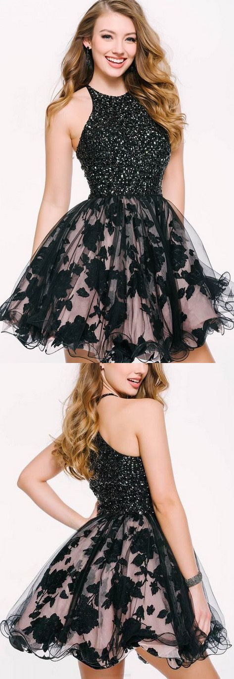 black short lace sleeveless prom dress,evening dress for teen,2018