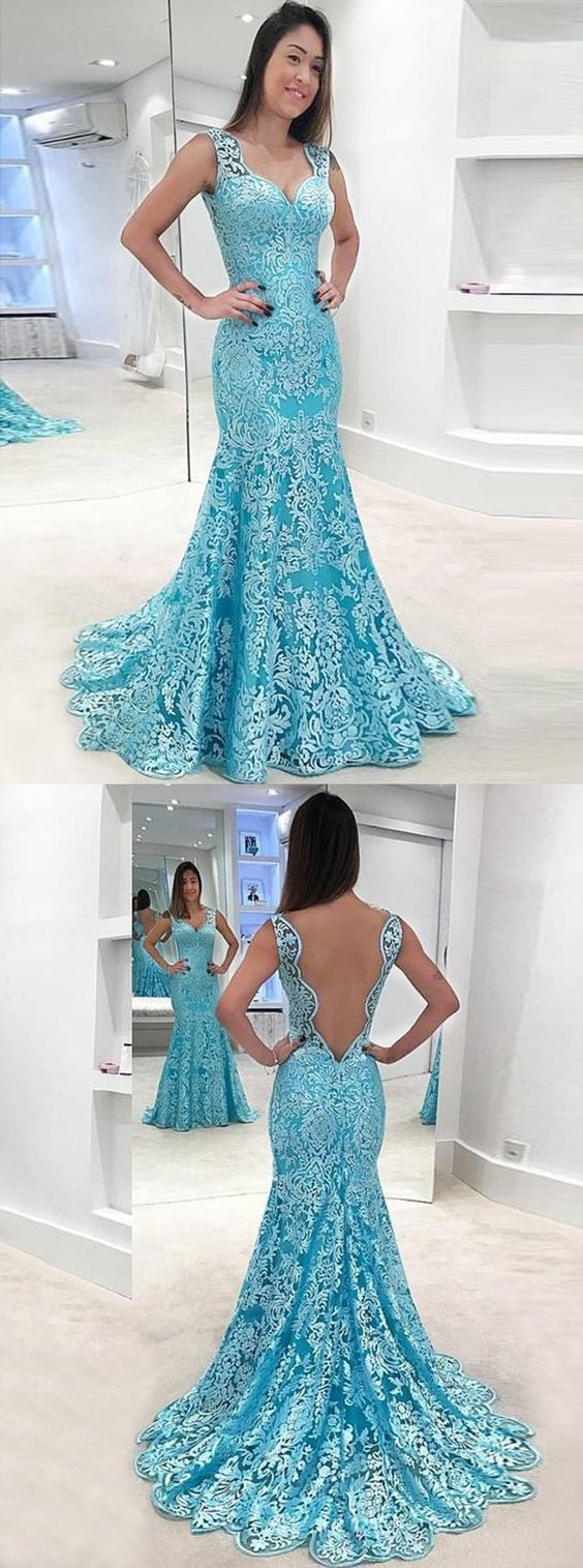 mermaid blue lace prom party dresses, chic by MeetBeauty on Zibbet