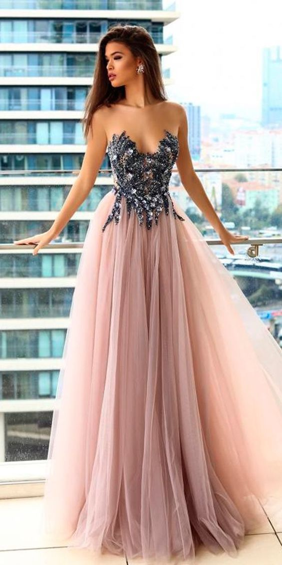 strapless long prom dress,sexy evening