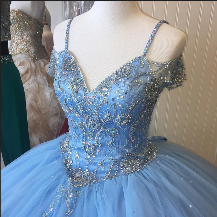 Blue Princess Evening Dress , Long Prom Dresses,Charming Party Dress with Tulle