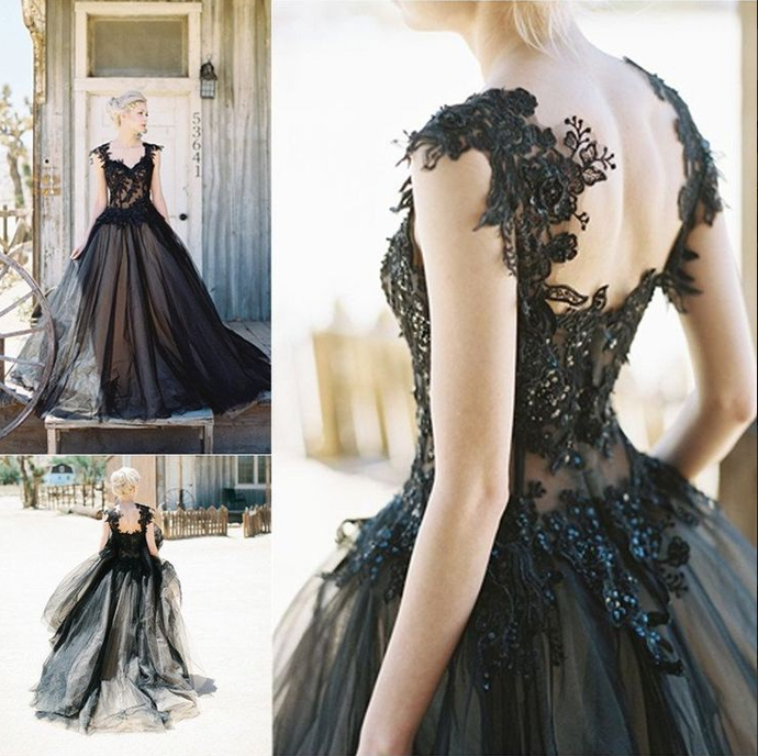 2018 Black Prom Dresses,Beading A-Line Appliques Prom Dress,Formal Evening