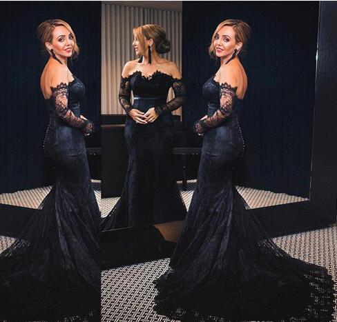 Off the Shoulder Evening Dress, Black Evening Dress, Evening Dresses 2018, Lace