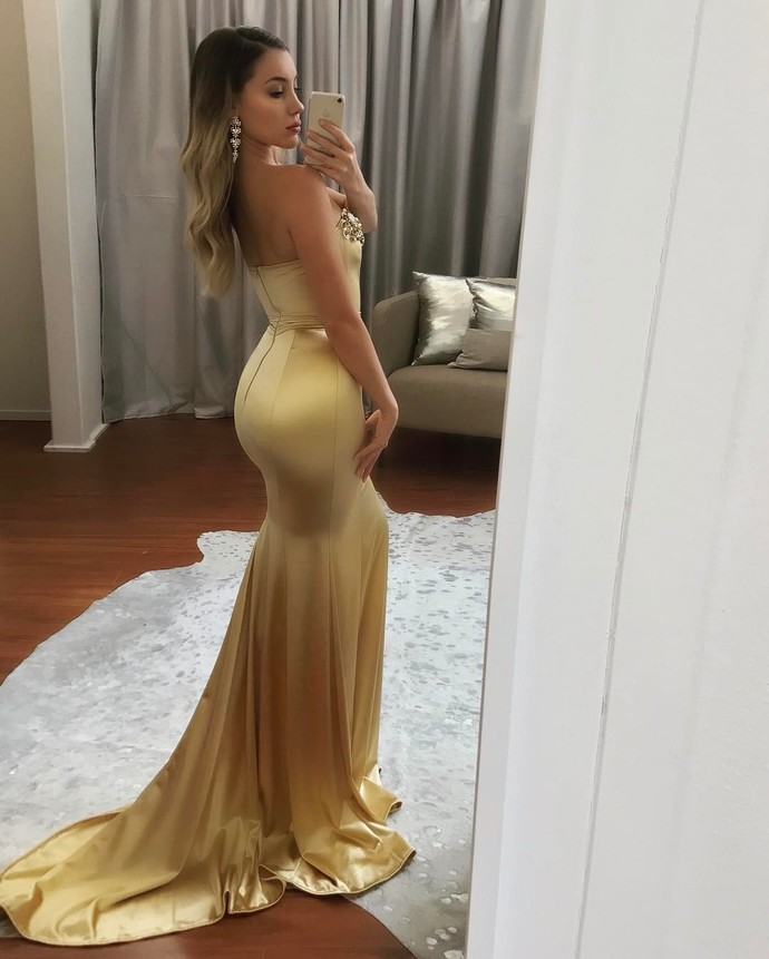 Long Gold Prom Dress, Satin Beaded Evening Dress, Sweetheart Mermaid Party Dress