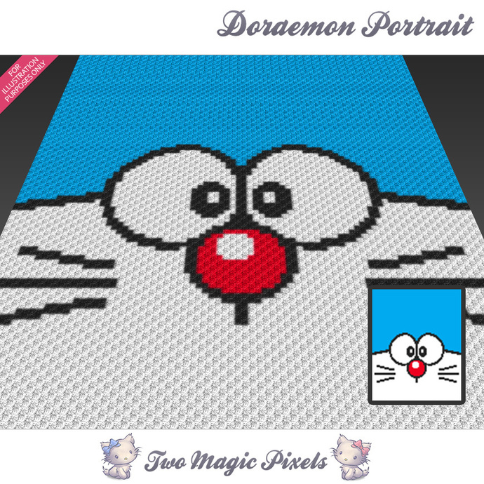 [C2C] Doraemon Portrait crochet blanket pattern; cross stitch graph; pdf