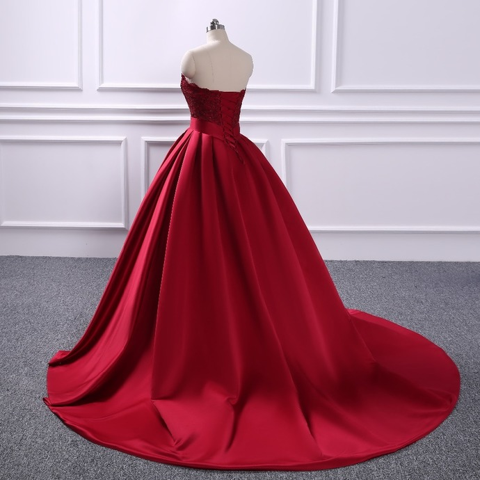 Burgundy Ball Gown Prom Dresses Satin Lace by prom dresses on Zibbet