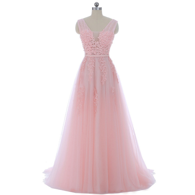 Long Pink Tulle Prom Dress With Lace Applique by prom dresses on