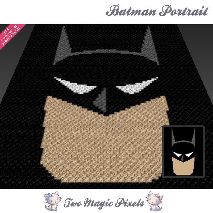 Batman Portrait crochet blanket pattern; c2c, cross stitch graph; pdf download;