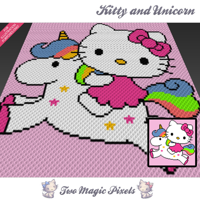 [SC] Kitty and Unicorn crochet blanket pattern; cross stitch graph; pdf