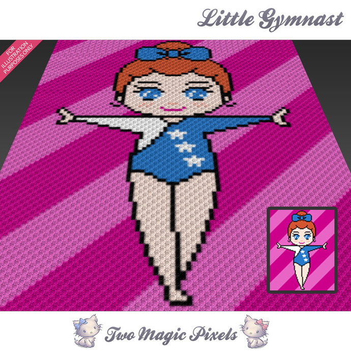 [SC] Little Gymnast crochet blanket pattern; cross stitch graph; pdf download;