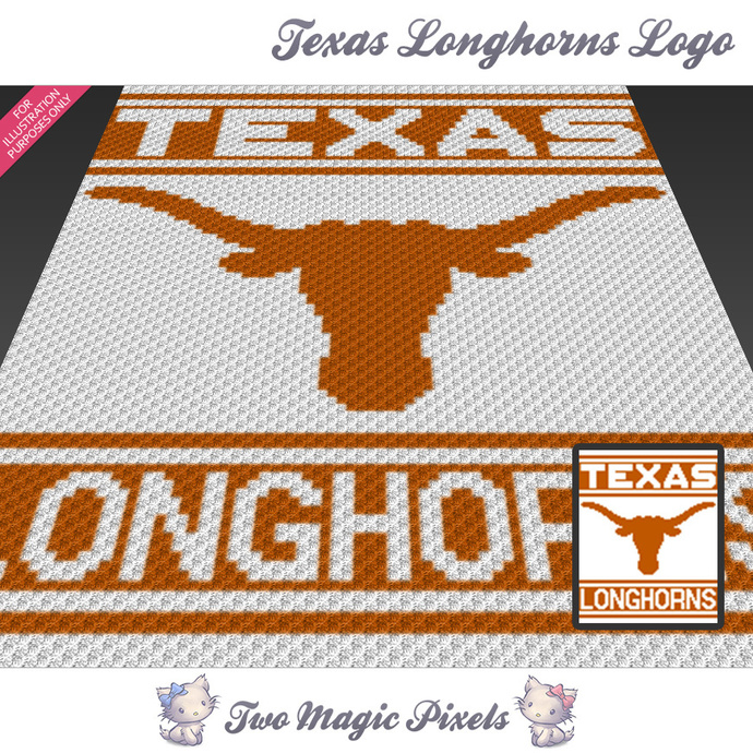 Texas Longhorns Logo crochet blanket pattern; c2c, cross stitch graph; pdf