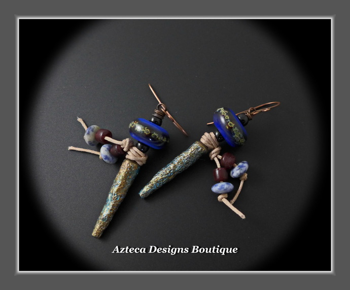 Aztec Blues Rustic Polymer Clay Spike Mixed Media Earrings