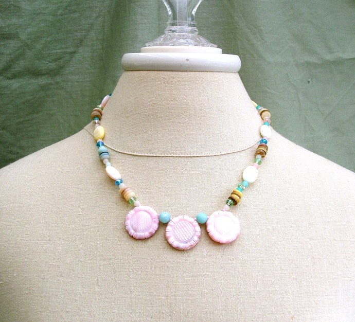 Beach wear, pastel shell necklace, carved shell flower necklace, beach wedding,