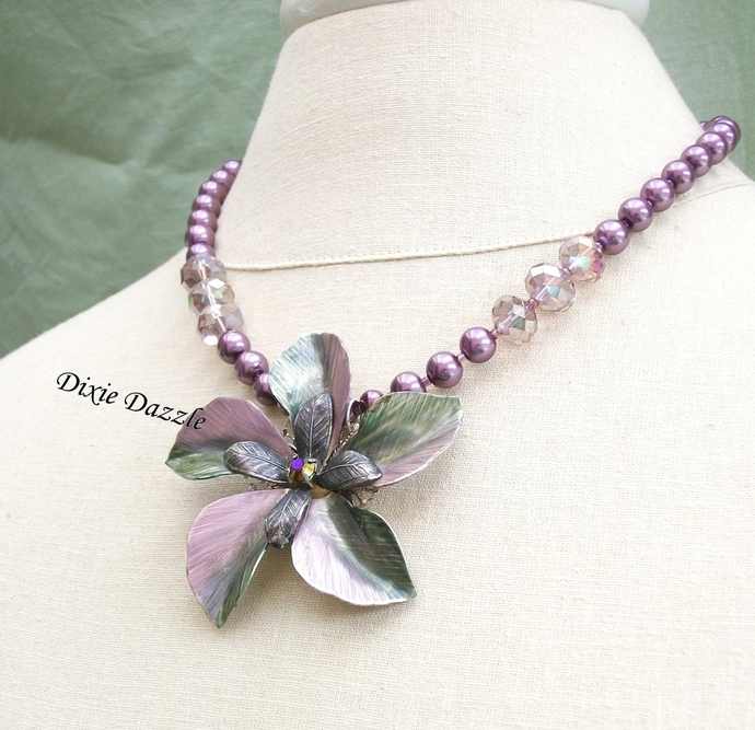 Repurposed brooch necklace, lavender and sage green metal brooch with faux