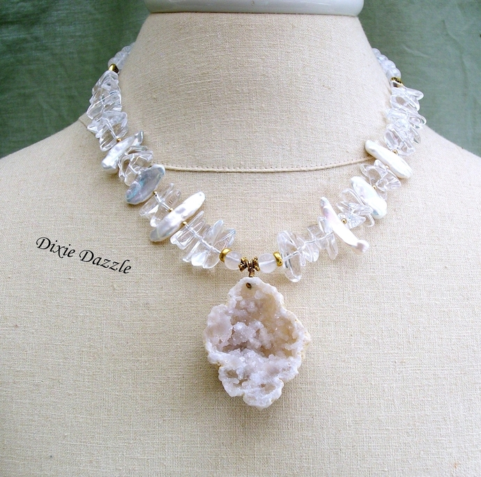 Natural crystal geode pendant necklace, quartz crystal, BIWA pearls, adjustable