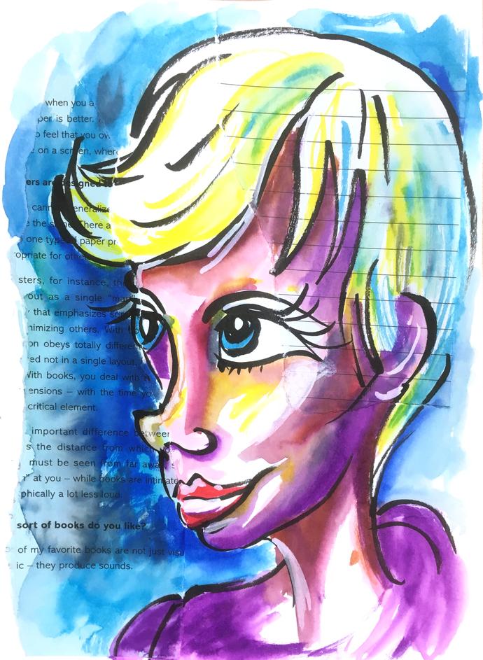 Cartoon Blond  - Portrait (10 Minute timed sketch)
