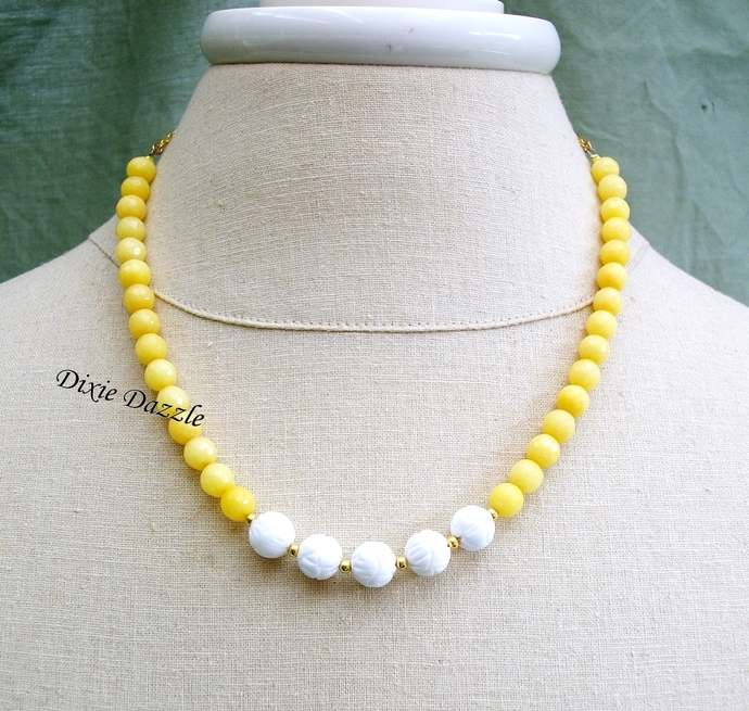 Yellow necklace, white jade, carved jade beads, summer jewelry, yellow and