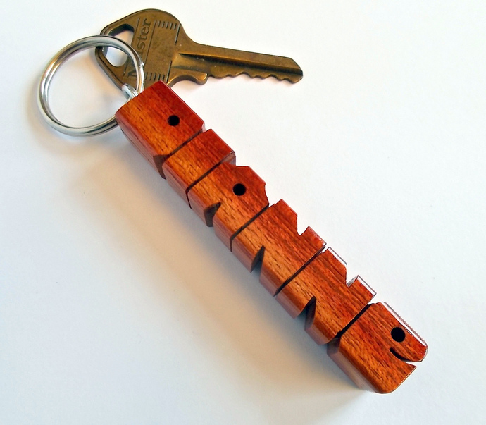 Name Keychain in Mahogany Wood, Carved to Order
