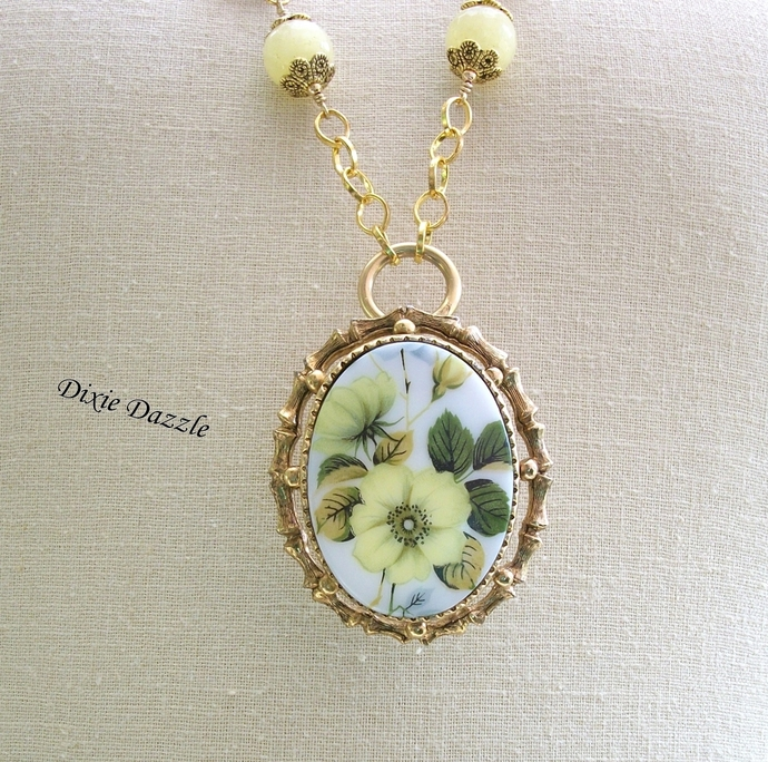 Repurposed cameo brooch, yellow cameo, removable brooch necklace, long yellow