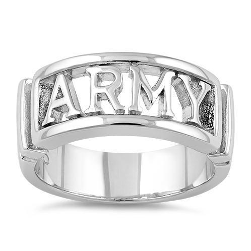 Size 13 New Sterling Silver Men's ARMY Ring