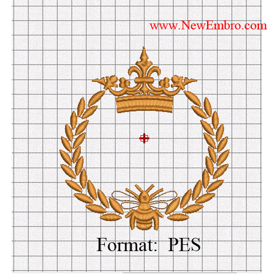 Custom embroidery,bee Gold laurel wreath logo embroidery design embroidery