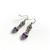 Pink Purple Hearts Silver jewellery set Czech glass beads Rose Quartz