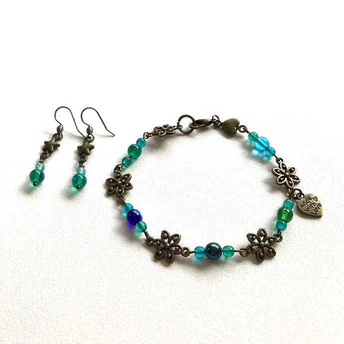 Teal Bronze Hearts Stars Flowers Jewellery Set Earrings Bracelet Fun Pretty