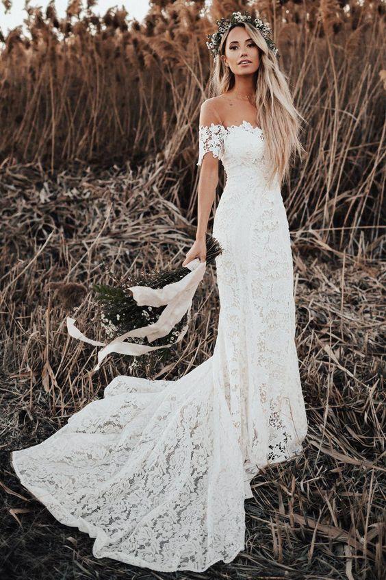 chic off the shoulder boho wedding dresses, by DestinyDress on Zibbet