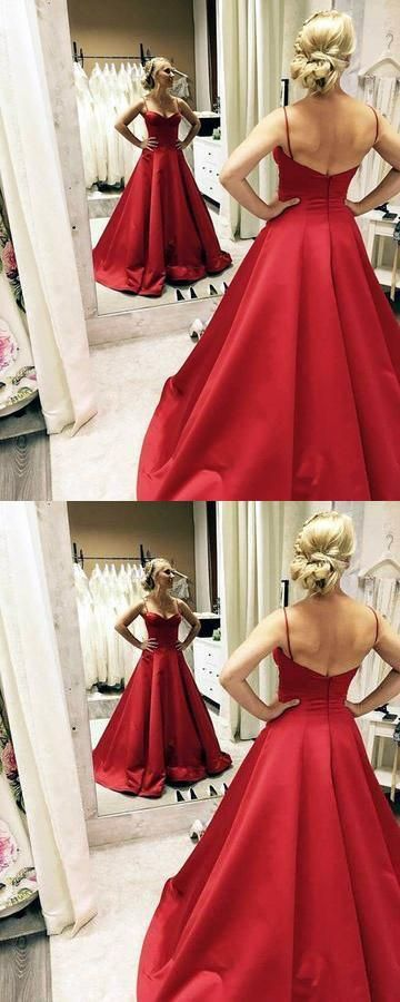 Sweetheart Long Prom Dresses Spaghetti Straps Backless A-Line Evening Formal