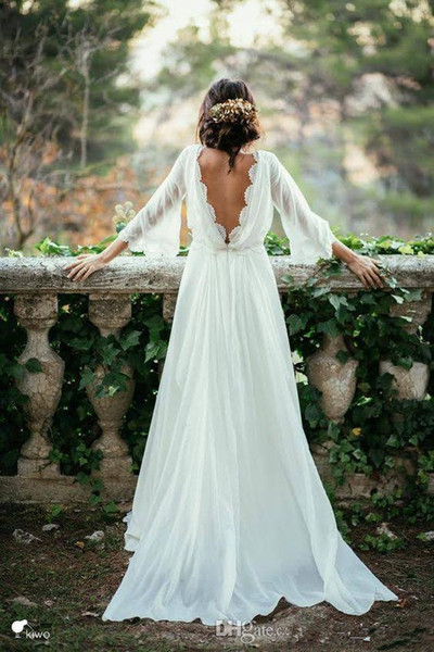 Lace Bohemian Wedding Dresses Summer 3/4 Long by DestinyDress on