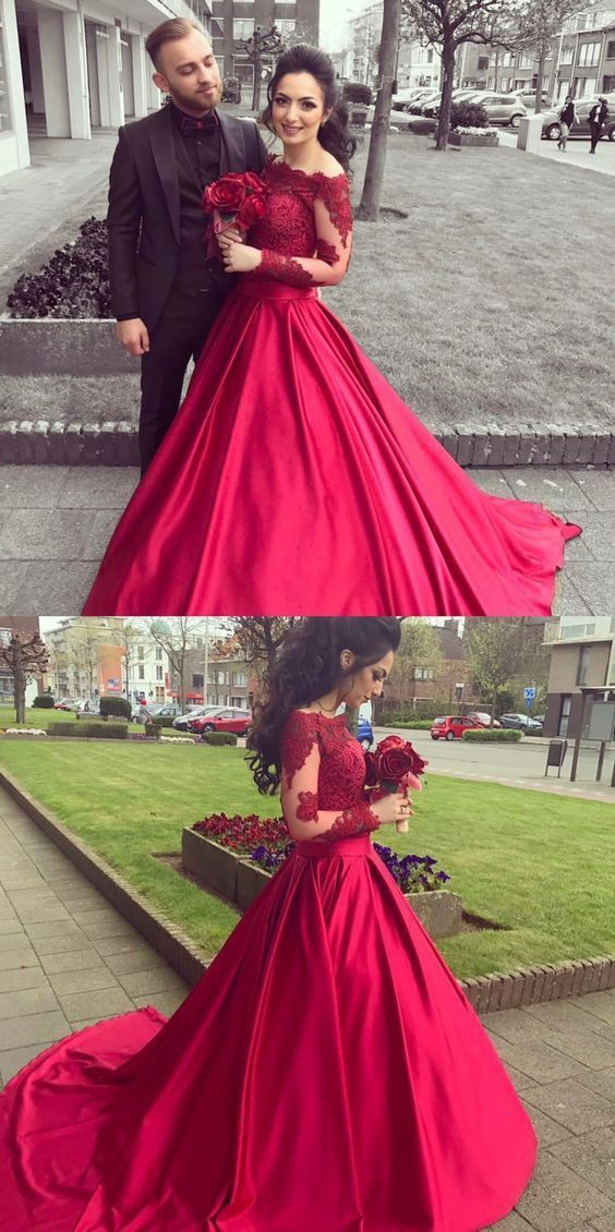 Elegant A Line Off Shoulder Long Sleeves Red Lace Satin Evening Formal