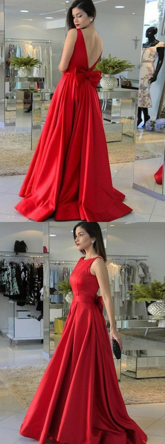 A-Line Round Neck Red Satin Prom Dress with Bowknot,A-Line Evening Formal