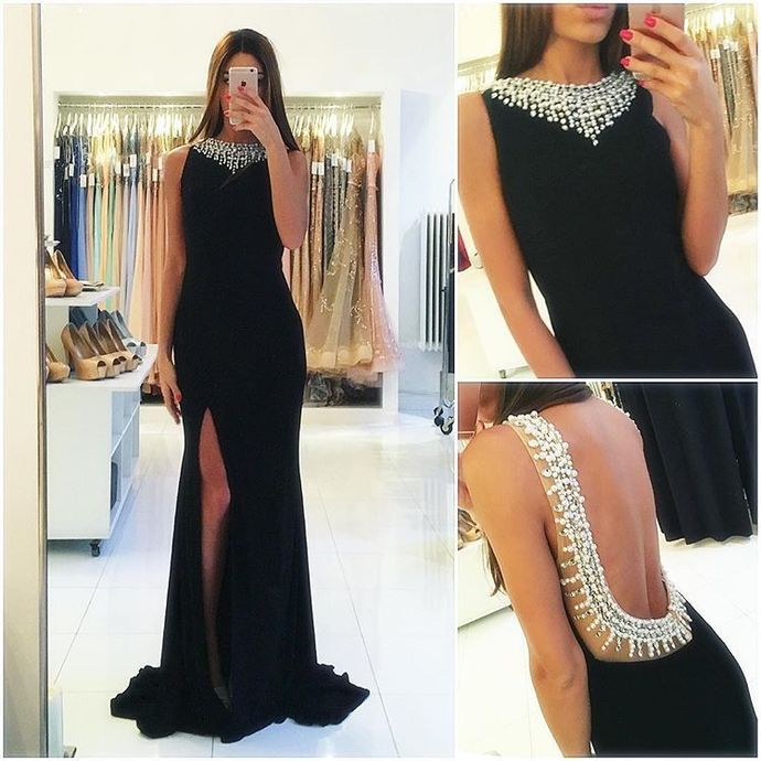 Black Prom Dress, Black Evening Dress, Backless Evening Dress, Backless Prom