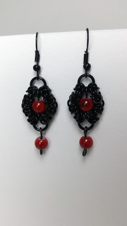 Romanov earrings, dangle earrings, chainmaille earrings