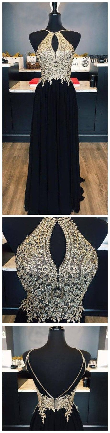 CHIC BLACK GOLD PROM DRESS A-LINE SPAGHETTI STRAPS APPLIQUE LONG PROM DRESS