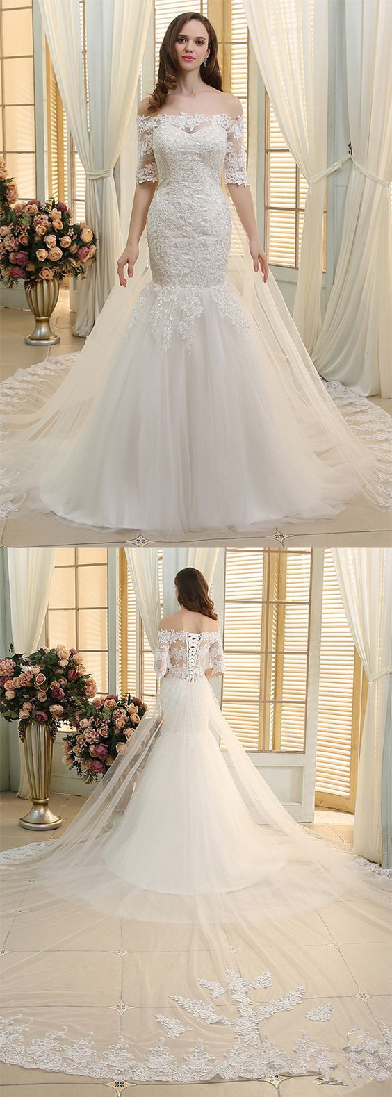 Gorgeous Tulle Off-the-shoulder Neckline Mermaid Wedding Dresses With Beaded