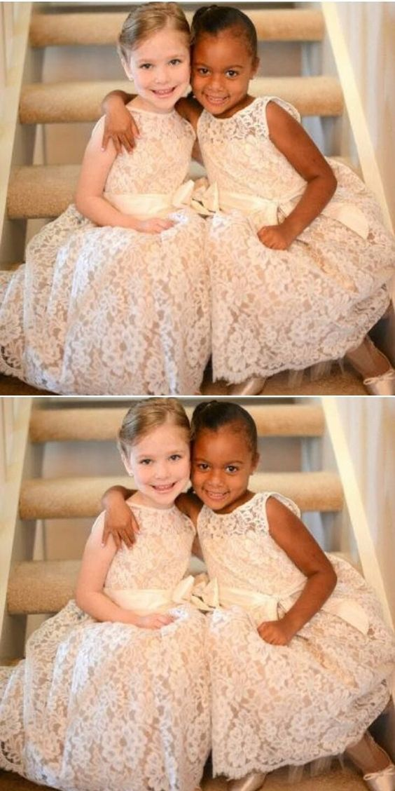 Sweet Scoop A-line Lace Long Flower Girls Dress Birthday Gown