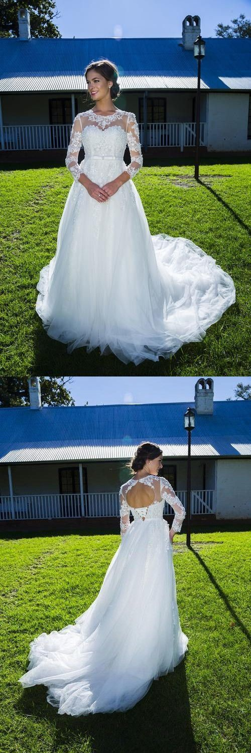 Elegant Jewel 3/4 Sleeves Lace-up Court Train Wedding Dress with Appliques