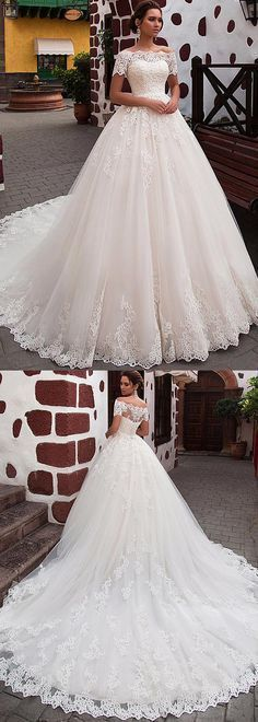 Attractive Tulle Off-the-shoulder Neckline Ball Gown Wedding Dress With Lace