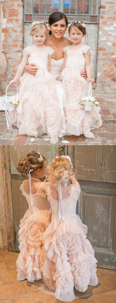 A-Line Round Neck Floor-Length Pearl Pink Tulle Flower Girl Dress with Lace