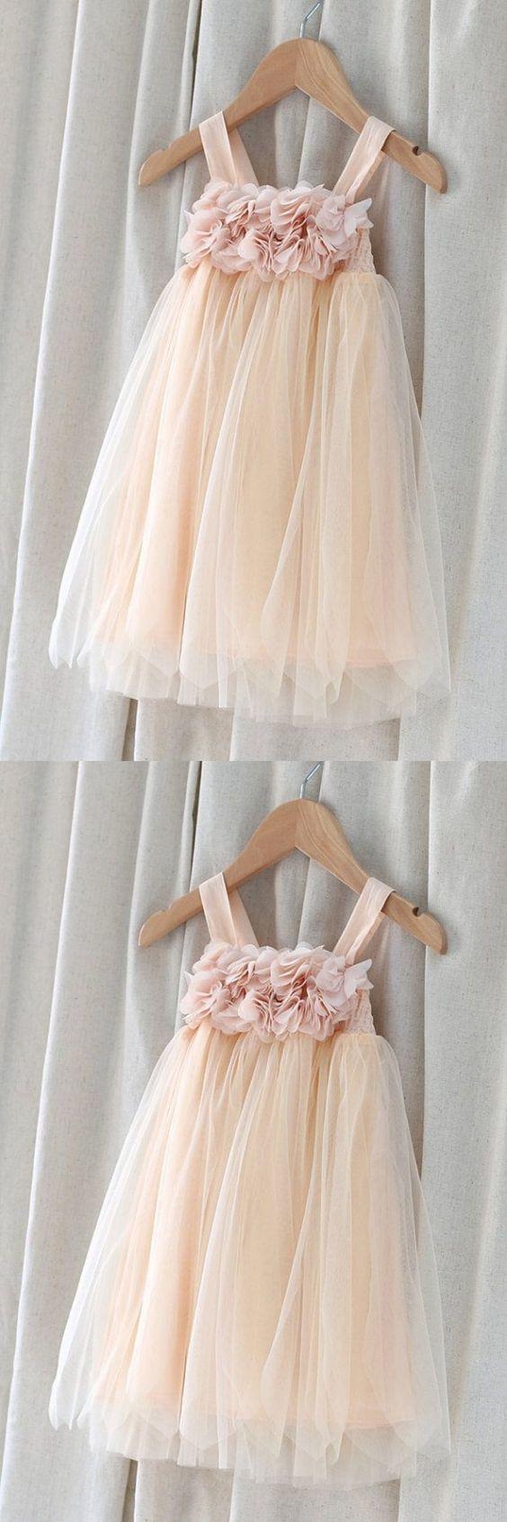 A-line Spaghetti Straps Tulle Flower Girl Dress