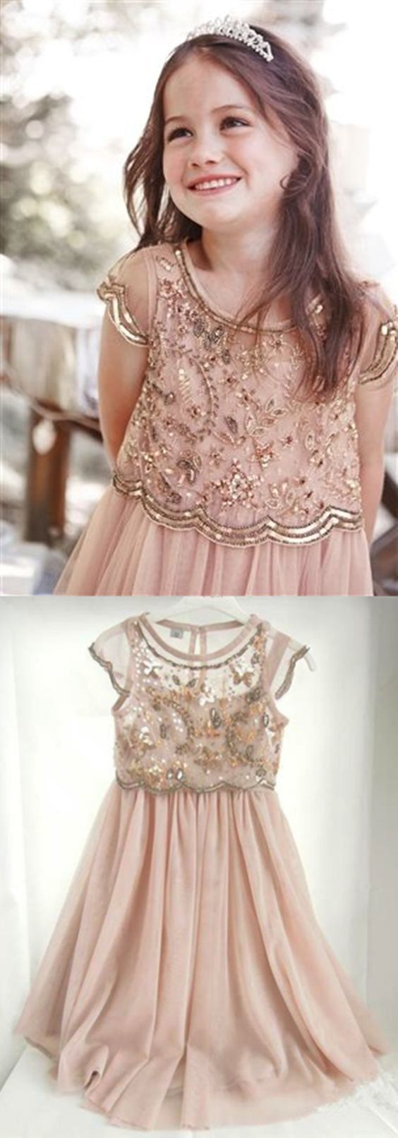A-Line Crew Knee-Length Cap Sleeves Champagne Chiffon Flower Girl Dress with