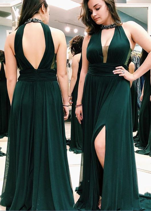 Illusion Neck Emerald Green Prom Dress with Slit