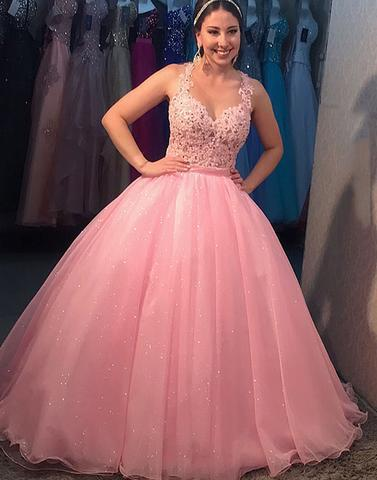 Pink Ball Gown Prom Dress with Illusion Bodice