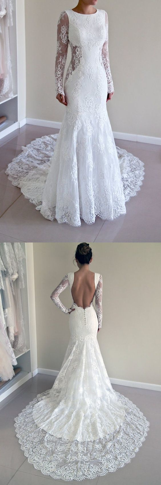 Charming Scoop Open Back Sheath Lace Mermaid Wedding Dress with Long Sleeves