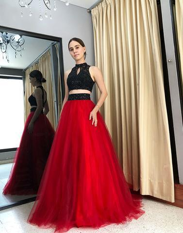Black Red Two Pieces Prom Dress