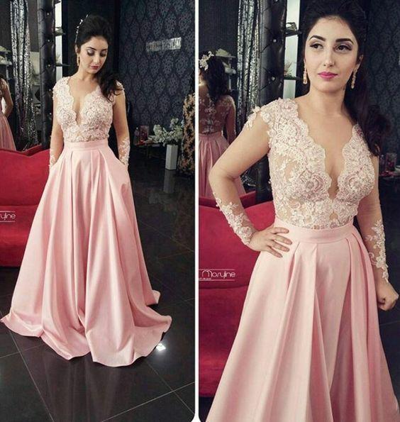 Sheer Long Sleeves Prom Dress